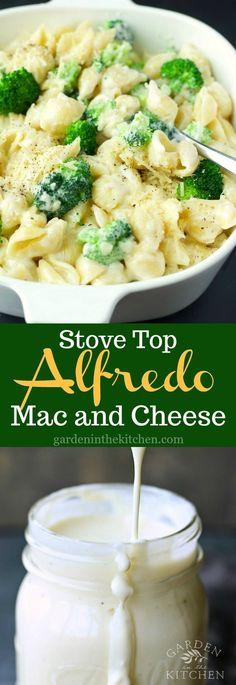 Creamy and UTTERLY delicious Stove Top Alfredo Mac and Cheese with broccoli florets! #alfredomacandcheese #whitemacandcheese #macandcheese