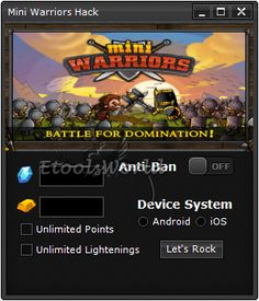 http://www.etoolsworld.com/mini-warriors-hack/ - Mini Warriors Hack - Fresh stuff from Etoolsworld - Get it now and have lots of fun during the game! More info on our site!
