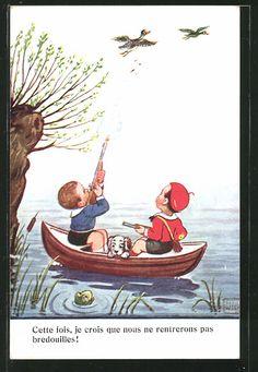 Künstler-AK John Wills: Zwei Jungen mit Hund in einem Boot bei der Jagd auf…