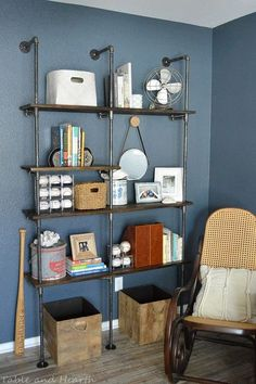 easy peasy industrial pipe office shelves, home office, how to, plumbing, repurposing upcycling, shelving ideas, storage ideas