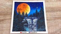 Waterfall Under Moonlight   Easy Acrylic Painting for Beginners   Joy of... Acrylic Painting For Beginners, Simple Acrylic Paintings, Acrylic Art, Moonlight, Painting & Drawing, Waterfall, Moose Art, Joy, Drawings