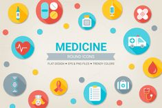 Check out Round medical icons by miumiu on Creative Market