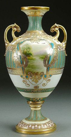NIPPON Bolted Scenic Porcelain Urn circa 1900 with Han Painted Lake Scenes in Gilt Cartouches. Antique China, Antique Glass, Fine Porcelain, Porcelain Ceramics, Japanese Porcelain, Japanese Pottery, Glass Ceramic, Ceramic Bowls, Ceramic Art