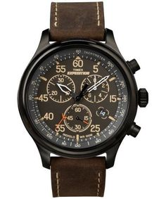 Men's Timex Expedition Field Chronograph Watch with Leather Strap - Black/Brown Men's, Size: Small watches rolex watches Military watches Movado watches nixon watches vintage Field Watches, Sport Watches, Cool Watches, Watches For Men, Wrist Watches, Stylish Watches, Rugged Watches, Cheap Watches, Luxury Watches
