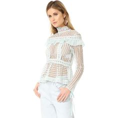Glamorous Lace Blouse ($130) ❤ liked on Polyvore featuring tops, blouses, dusty mint, sheer white blouse, transparent blouse, wrap blouse, white frilly blouse and white ruffle blouse