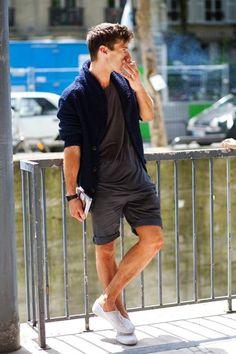 Shop this look on Lookastic:  http://lookastic.com/men/looks/shawl-cardigan-crew-neck-t-shirt-watch-shorts-plimsolls/10423  — Navy Shawl Cardigan  — Charcoal Crew-neck T-shirt  — Black Leather Watch  — Charcoal Shorts  — White Plimsolls
