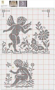 A Crochet Angel Pattern, Crochet Angels, Crochet Cross, Crochet Patterns, Filet Crochet Charts, Cross Stitch Charts, Cross Stitch Designs, Cross Stitch Patterns, Stitch And Angel