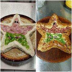 [Homemade] Green pepper and ham stuffed crust pizza in the shape of Patrick Star. Star Pizza, Pizza Art, Crust Pizza, Vegetarian Keto, Patrick Star, Lean Protein, Stuffed Green Peppers, Healthy Dinner Recipes, Ham