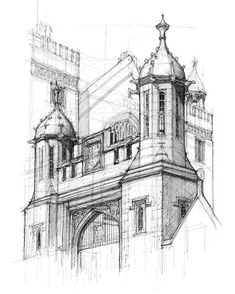 The main gate of Lincoln's Inn, with the great hall in the background. Holborn, London Drawn on location in Pen&Ink Finally added this forgotten drawing to my website. A commission I worked on many months ago.