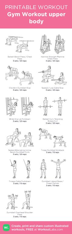 Gym Workout upper body: my visual workout created at WorkoutLabs.com • Click through to customize and download as a FREE PDF! #customworkout