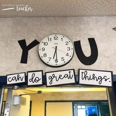 Title for Your Classroom Clock {You can do great things!} Title for Your Classroom Clock {You can do great things!},New classroom Related posts:Spicy Shrimp Tacos with Avocado Ideas Diy Organization College Notebooks Back. Classroom Clock, Middle School Classroom, Classroom Bulletin Boards, New Classroom, Classroom Design, Classroom Organization, Classroom Management, Bulletin Board Ideas For Teachers, Decorating Ideas For Classroom