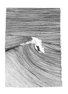 Surf Drawing, Ink Pen Art, Wave Illustration, Wave Art, Black And White Drawing, Surf Art, Pattern Art, Wave Pattern, Op Art