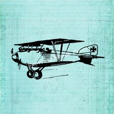 Antique Airplane Artwork Plane Wall Art Vintage Print with Blue Green Vintage Notepaper Style Background No.1049 B13 8x8 8x10 11x14 by SparrowHousePrints on Etsy https://www.etsy.com/listing/207174574/antique-airplane-artwork-plane-wall-art