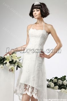 Lace High-low Civil Wedding Dresses:1st-dress.com