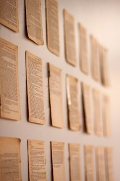 Book pages on wall as decor