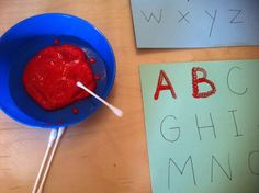 Q-Tip Letter Painting (Preschool, Kindergarten Activity)--great for teaching pencil grip, fine motor skill practice. Makes writing letters more than just practice--make it an art project! Do sight/spelling words with older kids. Preschool Kindergarten, Preschool Learning, Kids Learning, Preschool Writing, Alphabet Activities, Literacy Activities, Literacy Centres, Preschool Alphabet, Alphabet Art