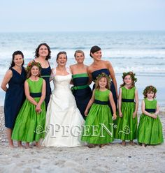 Flower Girl Dresses in Key Lime Green and Midnight navy - Beach Wedding