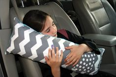 Seat Belt Pillow/Travel Pillow/Carseat by 7StitchesBoutique | Because I always fall asleep in the car
