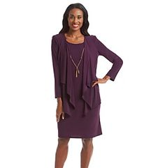 Product: R&M Richards® Mock Jacket Dress With Necklace