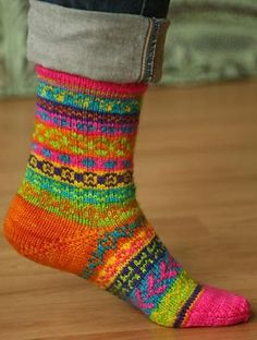 Ravelry: Mix or Match Fair Isle Socks pattern by Joan Sheridan...love those colours!