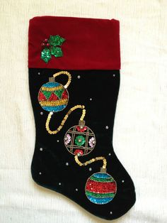 Velvet Christmas Stocking-buttons and ribbon | Christmas Tree ...
