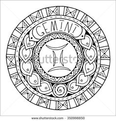 Zodiac sign of gemini and constellation in mandala with ethnic pattern. Set of black and white icon. Horoscope and zodiacal template. Can be used for magazine, coloring book. Hand drawn doodle circle.