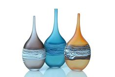 "David Royce is quickly becoming one of my favorite glass artists. -- ""Satin Wrapped Flat Bottles"""