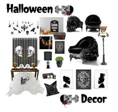 """Skull Halloween Interior Decor"" by azharkhadafialr on Polyvore featuring interior, interiors, interior design, home, home decor, interior decorating, Sarreid, Crestview Collection, Melrose International and Qeeboo"