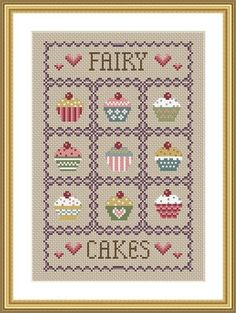 free cup cake cross stich patern | ... to INSTANT DOWNLOAD Cupcakes Cross Stitch Sampler PDF Chart on Etsy