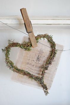 Natural grasses and vines heart