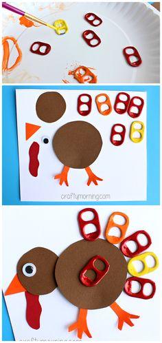Soda Pop Tab Turkey Craft #Thanksgiving craft for kids | CraftyMorning.com