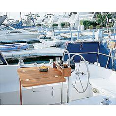 SeaForce Teak Cockpit Table w/Folding Leaves and Four-Drink Holder-93551 - Gander Mountain