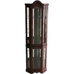 Corner Lighted Curio Cabinet, Mahogany