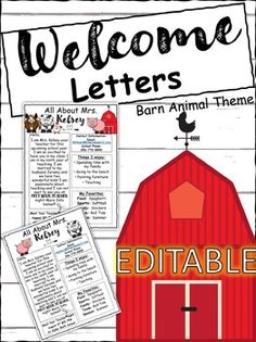 Student Welcome Letter, Back to School Letter, Meet The Teacher, (editable) Barn Student Welcome Letters, Welcome Back Letter, Welcome Back To School, Barn Animals, Meet The Teacher, Kindergarten, Lettering, Teaching, Color