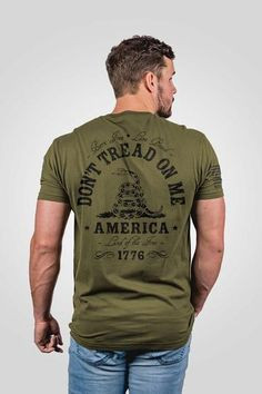 Shop for Don't tread on me snake men's shirt that shows your inner patriot! America is the land of the free so don't tread on me! Available in many colors, visit our site today. Clothing Hacks, Mens Clothing Styles, Gym Shirts, Cool Shirts, Usmc Clothing, Nine Line Apparel, Bearded Tattooed Men, Patriotic Outfit, Shirts With Sayings