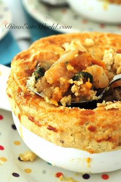 roasted vegetable and bean pot pie with black pepper crust