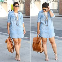 """NEW BLOG POST.... MimiGStyle.com #fashionblogger #denimshirtdress #thatbackpack"""