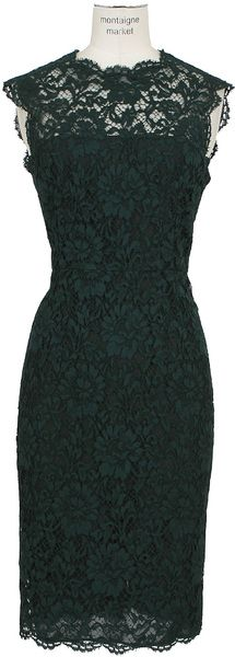 Valentino Green Lace Dress - Lyst