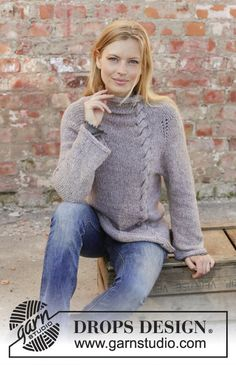 Malmö / DROPS - Free knitting patterns by DROPS Design Malmö / DROPS - Knitted pullover with raglan in DROPS Sky. The piece is worked top down with a braid, high collar . Drops Design, Knitting Wool, Malm, Knitting Patterns Free, Free Knitting, Free Pattern, Crochet Patterns, Simple Outfits For School, Knit Patterns