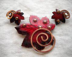 Vintage Matisse Renoir Copper Red Maple Leaf Enamel Pin Earrings Set FREE SHIPPING