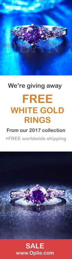 FREE White Gold Amethyst Diamond Ring