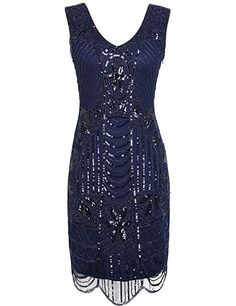 PrettyGuide Women's 1920s Gatsby Sequin Art Deco Scalloped Hem Cocktail Flapper Dress XL Navy
