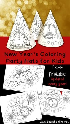 New Years Coloring Party Hats. Printable activity for New Year's Eve for kids to color, decorate and turn into party hats!Free New Years Coloring Party Hats. Printable activity for New Year's Eve for kids to color, decorate and turn into party hats! New Years With Kids, New Years Hat, Kids New Years Eve, New Year's Crafts, Holiday Crafts, Simple Crafts, New Year's Eve Colors, New Year's Eve Hats, New Year's Eve Activities