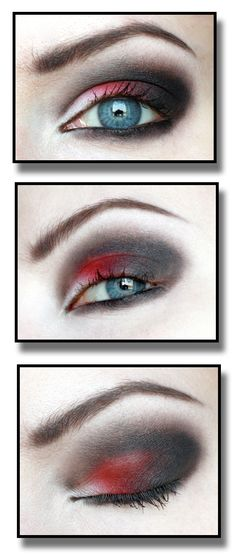 Black and red goth makeup. Use for Halloween or do a different color for everyday . The contrast is cool