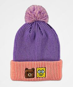 Why decide between your two favorite things? Teddy Fresh and SpongeBob SquarePants have made it easy with this purple and pink beanie! Ted and SpongeBob appear at the front cuff to celebrate this awesome collaboration, while the pom on top gives it some additional, fun flair. Whether a fan of SpongeBob, Teddy Fresh, or simply wanting to add some sick pastel colors into your headwear collection, this pom beanie will fit the bill.