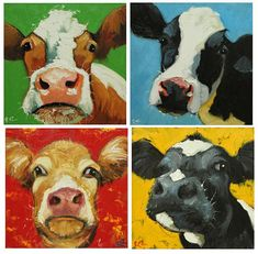 Commission your own four Cow paintings 12x12 inches each, by Roz via Etsy
