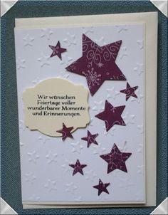 Weihnachtskarte mit Sternen, gestaltet mit Stampinup -creativ by maro