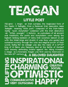TEAGAN Personalized Name Print / Typography Print / by OhBabyNames