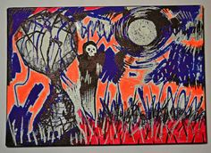 Original Modern Spooky Gothic Abstract Painting,Cute Grim Reaper,Landscape Art