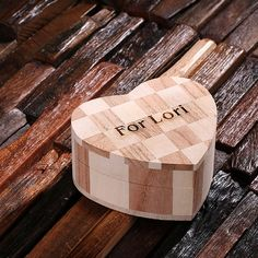 Small Personalized Engraved Light Wood Engagement Gift Heart Shape Jewlery Treasure Box Cose Monogrammed Customized Engraving (024324-small)